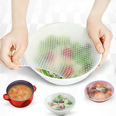 4Pc/Set Silicone Wrap Seal Cover Elastic Cling Film Kitchen Tool Food Fresh Keep