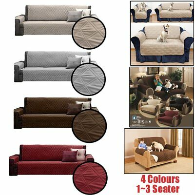 Universal 1-3 Seater Quilted Waterproof Sofa Couch Slip Cover Pets Dog Protector
