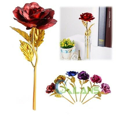 AU 24k Gold Plated Rose Unique Flower Romantic Gift for Mum Lover Girlfriend+Box