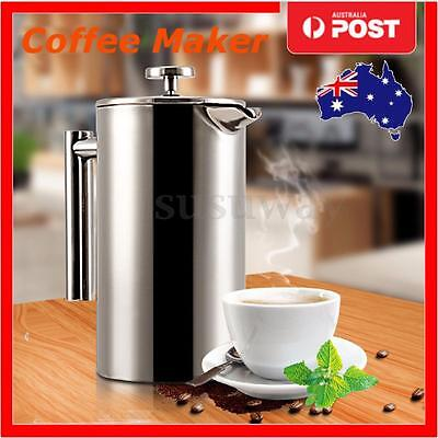 350ml Double Wall Stainless French Coffee Tea Pot Plunger Filter Press Maker Mug