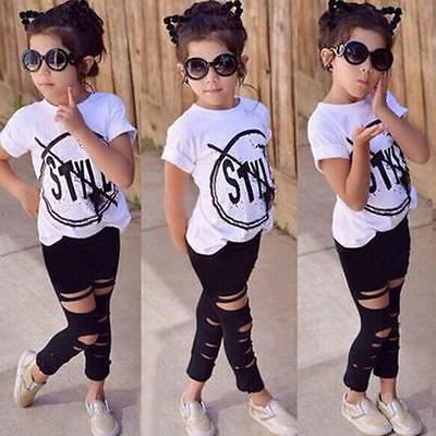 2PCS Kids Toddler Baby Girl Outfit T-shirt Tops Tee+Pants Legging Set Clothes UK