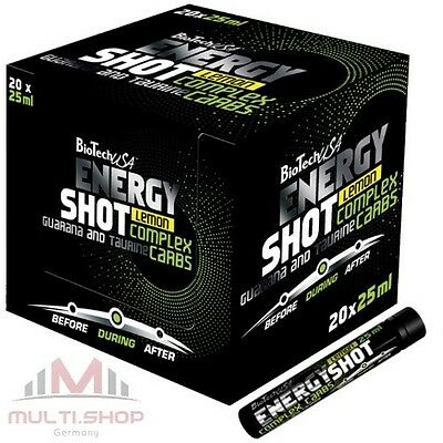 ENERGY SHOT 20x25ml BioTech USA Liquid Energie Booster Taurin Guarana L-Arginin