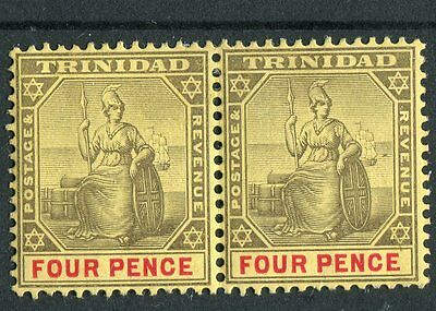 Trinidad KEVII 1904-07 4d grey & red on yellow SG138 mounted mint pair