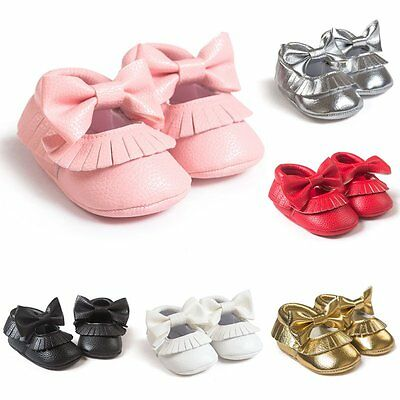 Infant Baby Kids Girl Lovely Bowknot Soft Sole PU Leather Slip On Shoes 0-18M