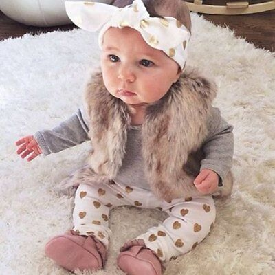 Baby Girls 3Pcs/Set Clothes Romper Tops Leggings Pants Headband Outfits 0-18M