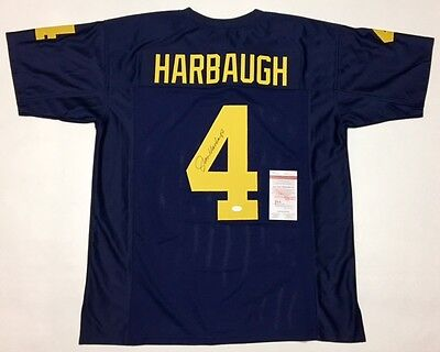 JIM HARBAUGH AUTOGRAPHED MICHIGAN JERSEY with JSA WITNESSED COA #WP405542