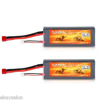 2x 5200mAh 7.4V 2S 30C LiPo Battery Deans for RC Helicopter Airplane Car Truck