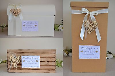 Personalised shabby chic country wedding card chest crate post box rattan heart