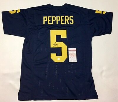 JABRILL PEPPERS AUTOGRAPHED MICHIGAN JERSEY with JSA WITNESSED COA #WP406397