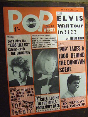 Pop Weekly No 39 1965 (3rd series).  The Golden Age of UK Pop Music!