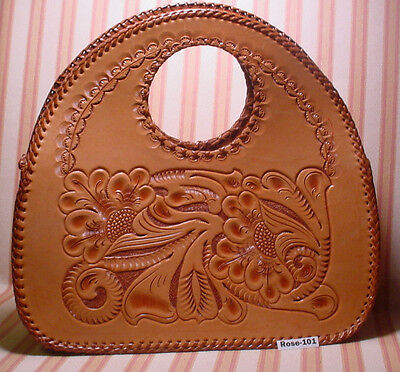 Beautiful HAND TOOLED & Laced Hand Bag Purse by MASTER CRAFTSMAN ~MAKE OFFER~