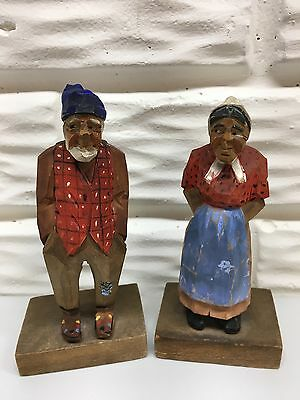 """Vintage Hand Carved 5"""" Wooden Elderly Couple Poss. Made in Canada"""