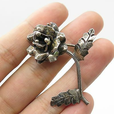 Vtg Mexico 925 Sterling Silver Large Floral Handmade Pin Brooch