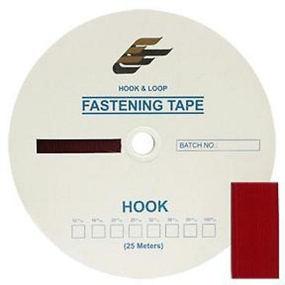"Jef 2"" Hook Red Tape 100% Nylon Sew On 1 Roll 25 Meters 27 Yds"