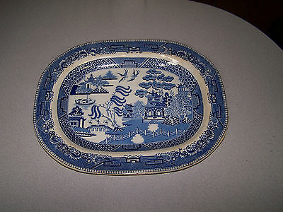 """Beautiful Antique Staffordshire PW&Co Blue Willow Transferware 16"""" Meat Platter"""