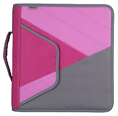 """Mead 2"""" Zipper Binder with Handle, Includes Interior and Exterior Pockets, Pink"""
