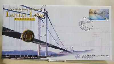 Hong Kong Opening Of The Lantau Link First Day Cover & 10 Dollar Coin $5 Stamp