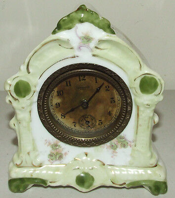 Antique 19th C. NEW HAVEN Porcelain Ceramic Wind-Up Mantel Shelf Clock