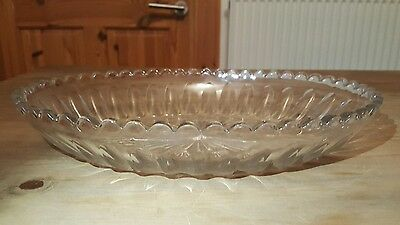 Vintage Cut Glass Heavy Oval Plate / Serving Plate