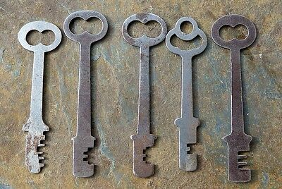 Five Flat  Antique Mortise Lock Skeleton Keys  Antique Door Keys