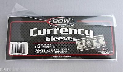"BCW U.S. Currency Sleeves (Holds 6 1/2"" x 2 5/8"" Notes) - Brand New Pack of 100"
