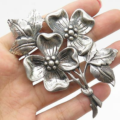 Danecraft Vtg 925 Sterling Silver Large Floral Pin Brooch