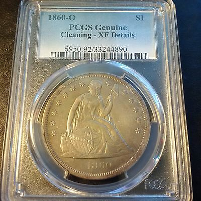 1860-O Seated Liberty Dollar PCGS XF Details - cleaning