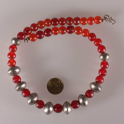 8144 Necklace ancient reed glass Bohemians , old metal Ethiopian beads
