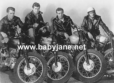 MOTORCYCLE GANG 4 VINTAGE TRIUMPH 50's MOTORCYLES PHOTO