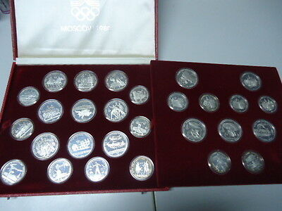 RUSSIA RUSSLAND 1977/1980 - Alle 14 x 5 + 14 x 10 Rubel in Silber, PP - OLYMPIA