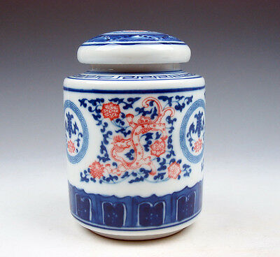 Blue&White Porcelain Ox-Blood Red Dragon Flower Cylinder Tea Caddy Jar #10231609