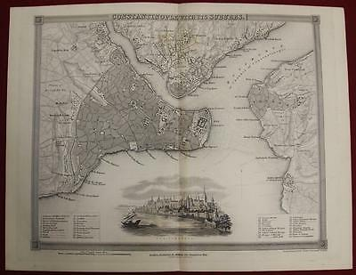 ISTANBUL TURKEY 1840ca JOHN DOWER ANTIQUE ORIGINAL STEEL ENGRAVED CITY MAP