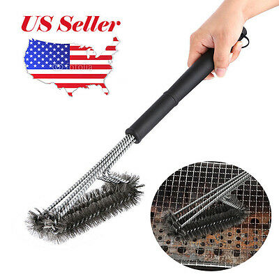 "Hot BBQ 18"" Grill Brush Barbecue Grill Cleaner Handle Woven Wire Cleaning Brush"