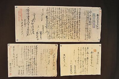 Antique Late 1800's Japanese Business Contracts / Stamps / Calligraphy