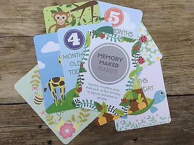 Baby Milestone Cards - 12 Months - Rounded Corners - Free UK P&P - Baby Shower