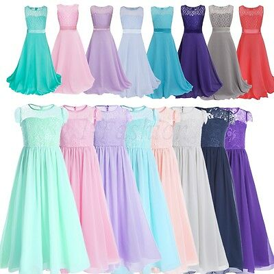Girl Communion Party Prom Princess Pageant Bridesmaid Wedding Flower Kids Dress