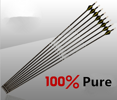 "6pcs Pure Carbon Arrows Spine300/400 3 Feathers 31"" Shaft Archery Hunting"
