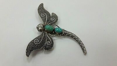 RR Rare beautiful collectible French Austrian 925 silver dragonfly-shaped brooch