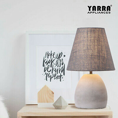 Contempoary Table Bedside Lamp Concrete Body Grey Fabric Shade 1*E14 30cm Height