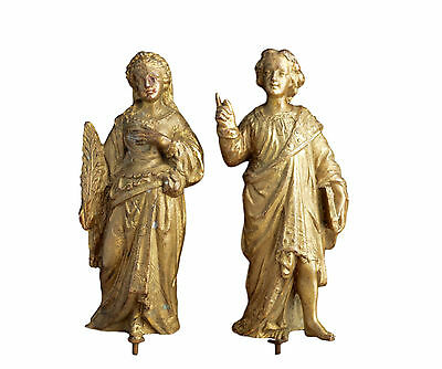 Antique French Gilt Spelter Pair of Statue - Young Noble Man and Woman Figure