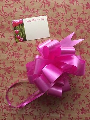 Mothers Day Pink Floral Cellophane gift wrap 2m x 80 cm- FREE PULL BOW & CARD