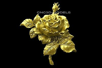 3D Model STL for CNC Router Engraver Carving Artcam Aspire Rose Flowers 1726