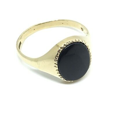 Lovely vintage gents onyx oval signet 1986 fancy edge 9ct yellow gold