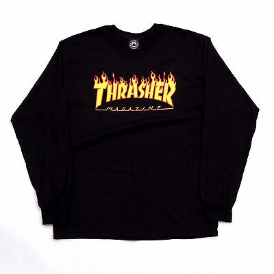 Thrasher Magazine - Flame Longsleeve T Shirt Black - S M L Xl New 100 % Genuine