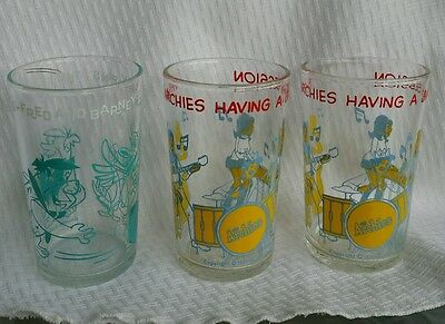 Lot of 3 Archies and Flintstone Jelly Glasses