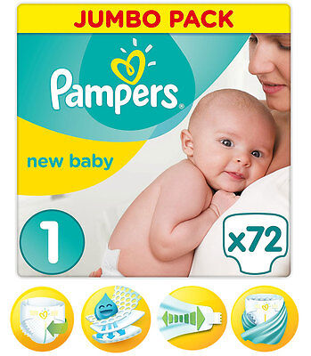 Pampers New Baby Nappies Premium Protection Jumbo Pack Size 1 Pack of 72 New