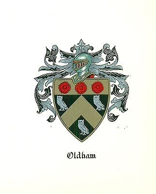 *Great Coat of Arms Oldham Family Crest genealogy, would look great framed!