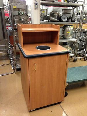 Single Restaurant  Trash Can Cabinet  w/ Liner Laminate Elevated Tray Holder