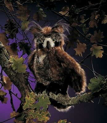 """Folkmanis Puppets 18"""" Plush GREAT HORNED OWL Hand Puppet ~NEW MISSING HANGTAG~"""