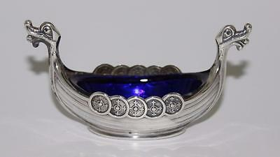 Theodor Olsens Sterling Silver Viking Ship Open Salt with Cobalt Blue Liner